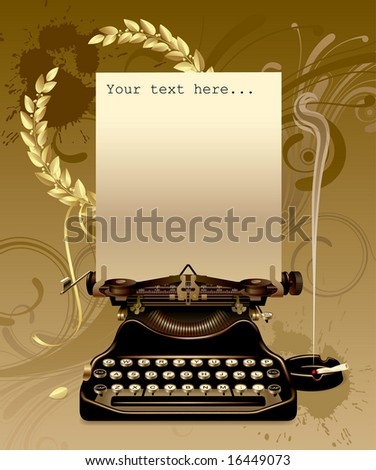 Vector old typewriter with gold laurels - stock vector