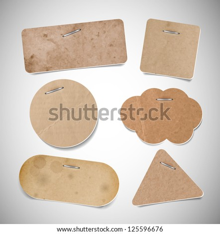 Vector old used brown cardboard paper labels attached with staples - stock vector