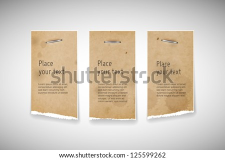 Vector old used stained torn paper banners with staples - stock vector