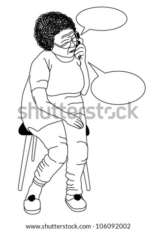 Vector Old woman sitting on chair and speaking on cell phone with bubbles around - stock vector