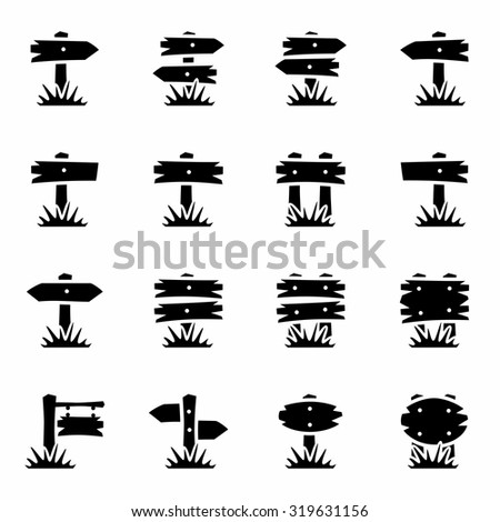 Vector Old wood sign icon set on white background - stock vector