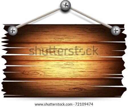 Vector old wooden board hanging. - stock vector