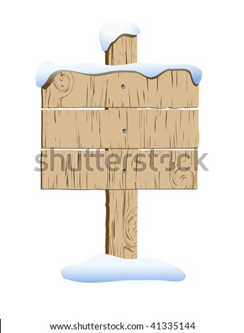 vector old wooden sign with snow - stock vector