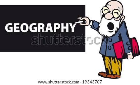 Vector older teacher drawing GEOGRAPHY on a small chalkboard - stock vector