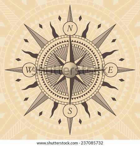 Vector oldstyle wind rose compass - stock vector