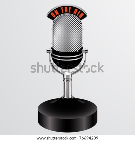 vector on the air desktop microphone - stock vector