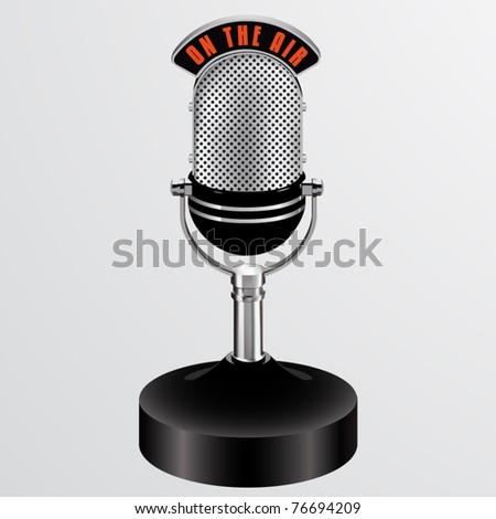 vector on the air desktop microphone - stock vector