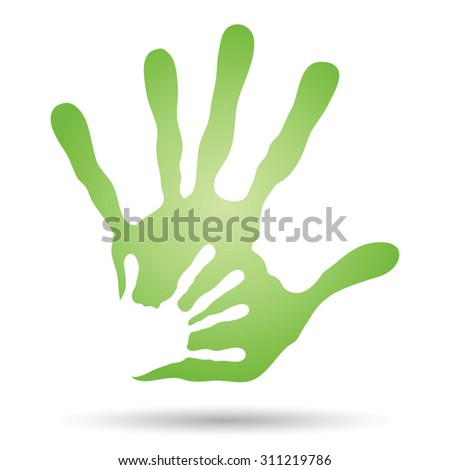 Vector onceptual human mother and child hand prints painted, isolated on white background for art, care, childhood, family, fun, happy, infant, symbol, kid, little, love, mom, motherhood, young design - stock vector