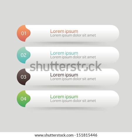 Vector One Two Three Four steps, progress banners with colorful tags. - stock vector