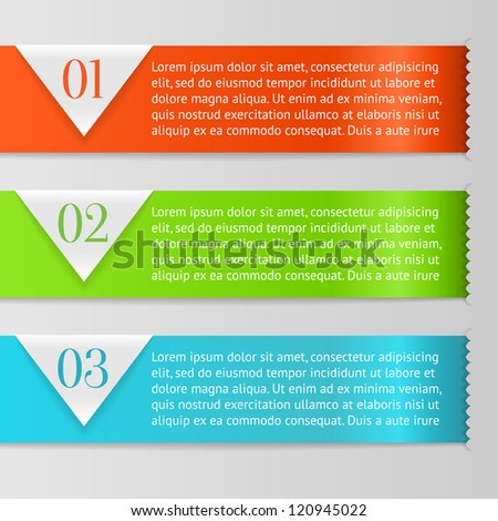 Vector One, Two, Three progress labels with arrows on gray background; realistic cut, takes the background color. - stock vector