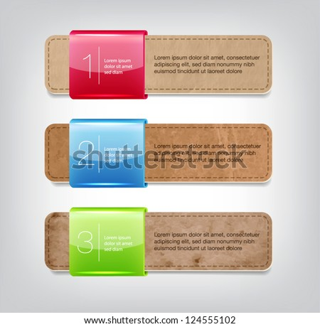 Vector One Two Three steps old paper textured banners with glossy colorful tags