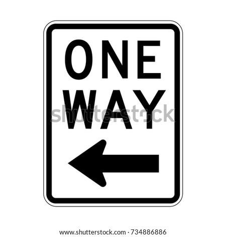 Vector One Way Sign Icon, Left Sign