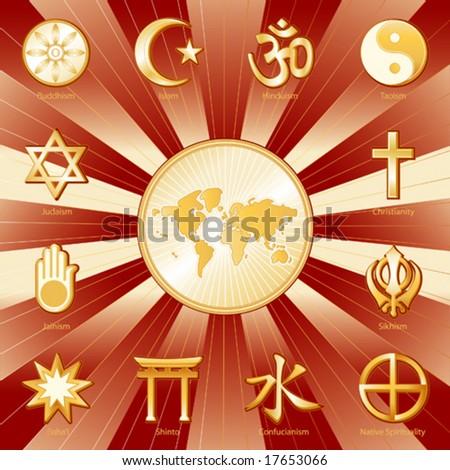 vector - One World, Many Faiths, Globe Map, 12 international religions. Top left: Buddhism, Islam, Hindu, Taoism, Christianity, Sikh, Native Spirituality, Confucianism, Shinto, Baha'i, Jain, Judaism. - stock vector