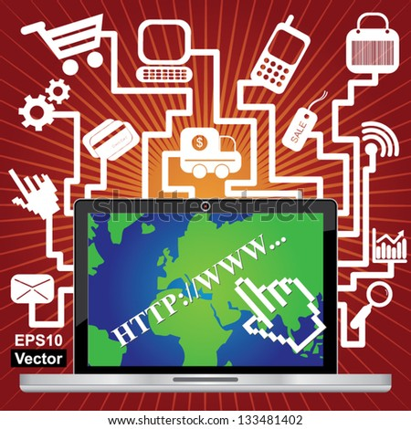 Vector : Online Business and E-Commerce Concept Present By Computer Laptop or Computer Notebook With World Map on Screen and Group of E-Commerce Icon in Red Shiny Background - stock vector