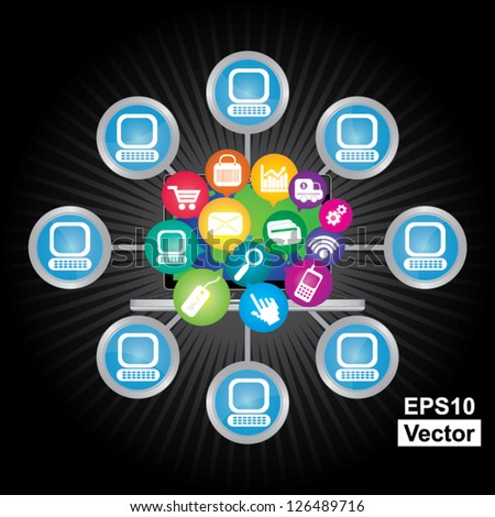 Vector : Online Business and E-Commerce Concept Present By Computer Laptop With Group of Colorful E-Commerce Icon Connected to The Network  in Dark Background - stock vector