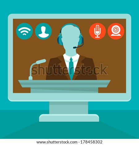 Vector online conference concept in flat style - webinar and training on the web - stock vector