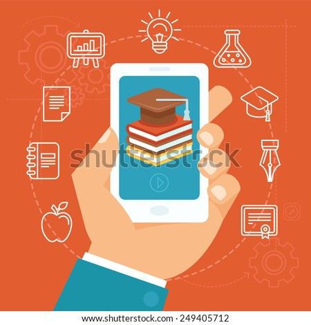 Vector online education concept in flat style - hand holding mobile phone with educational app in the screen - distant e-learning - stock vector