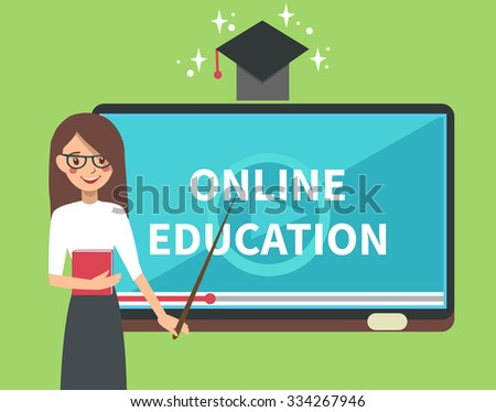 Vector online education illustration of teacher with tablet look like school board. Online education background. Online education concept. - stock vector