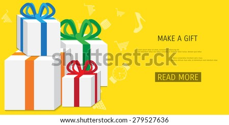 Vector online shopping gifts concept illustration. Web shop. Internet store. E-commerce and internet banking. - stock vector