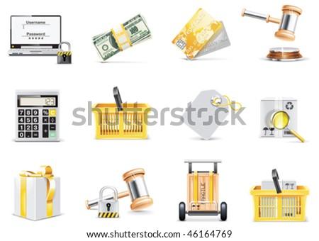 Vector online shopping icon set - stock vector