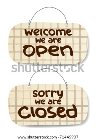 Vector Open and Closed Signs, burberry style - stock vector