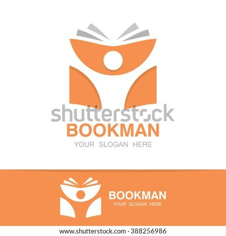 Vector open book and man logo. Education logo concept - stock vector