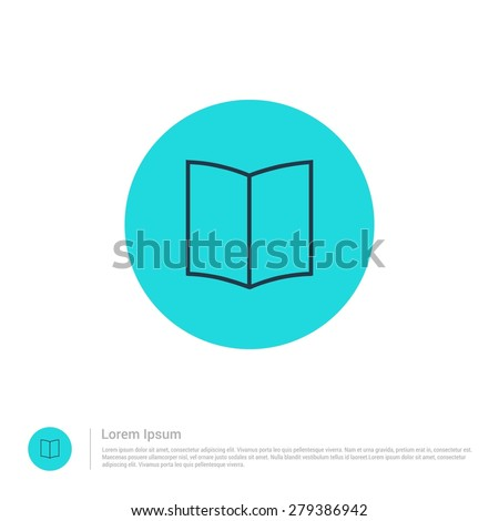 vector Open Book icon thin line for web and mobile, modern minimalistic flat design. Vector outline icon and offset colour on light white background - stock vector