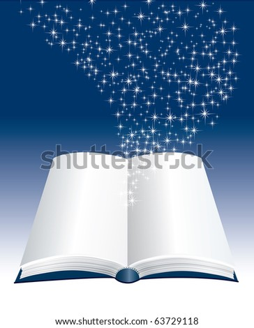 vector open book with stars inside