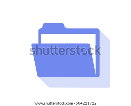 Vector open folder icon with long shadow effect
