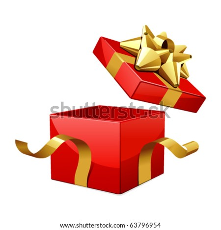 Vector open gift box with glossy gold bow - stock vector
