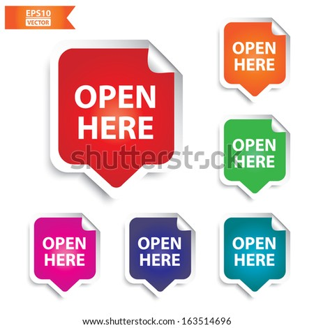 Vector: Open here tag,colorful set. Eps10. - stock vector