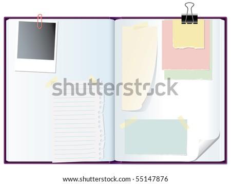 vector open notebook with memo papers - stock vector