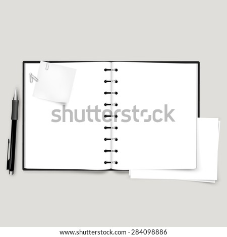 Vector Open Notebook, with paper sheet and note paper, - stock vector