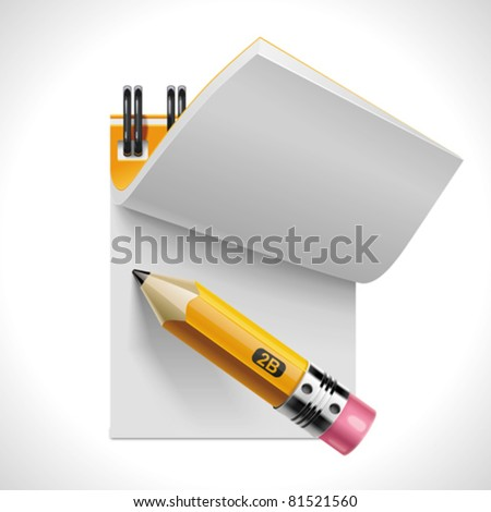 Vector open notepad with pencil XXL icon - stock vector