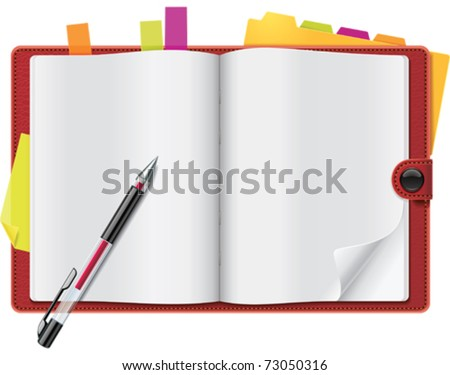 Vector open personal organizer - stock vector