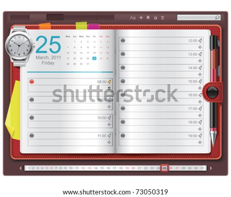 Vector open personal organizer template - stock vector