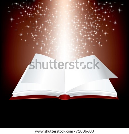 vector open red book with stars inside - stock vector