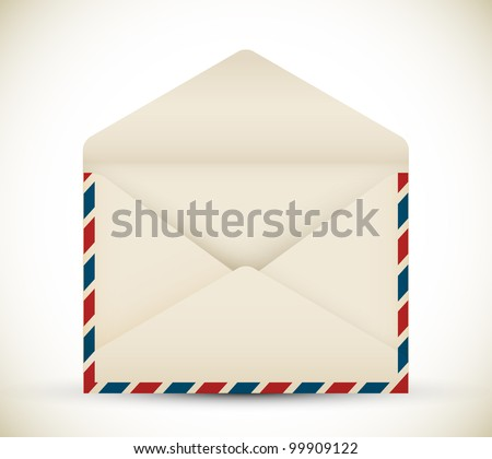 Vector open vintage air mail envelope icon - stock vector