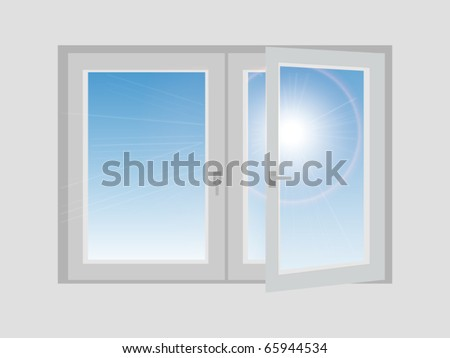 Vector Open Window Illustration - stock vector