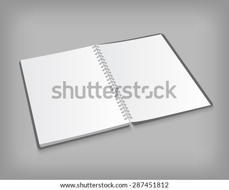 Vector opened blank spiral notebook on gray background with soft shadows. Realistic EPS 10illustration. - stock vector