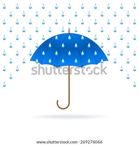Vector opened blue umbrella and rain on white background. - stock vector