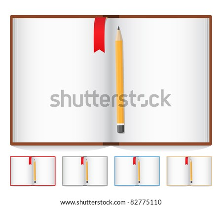 Vector opened book with pencil and bookmark - stock vector