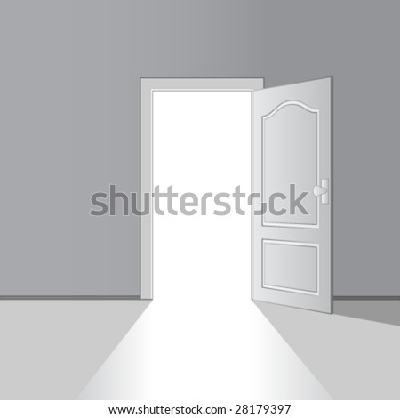 vector opened door - stock vector