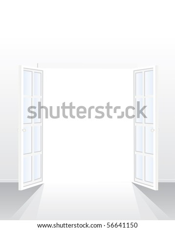 vector opened french window in empty white room - stock vector