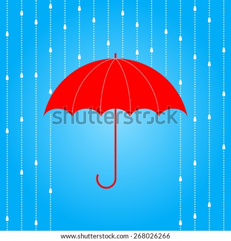 Vector opened red umbrella and rain on blue background. - stock vector