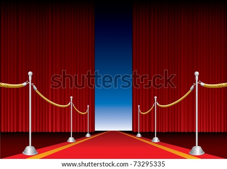 vector opened stage curtain with red carpet - stock vector