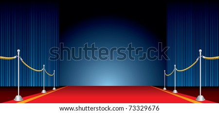 vector opened stage with blue curtain and red carpet - stock vector