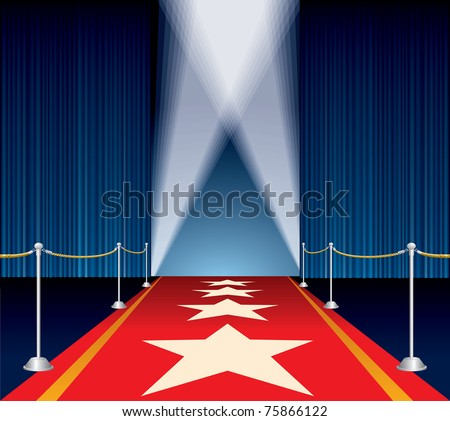 vector opened stage with blue curtain and stars on red carpet - stock vector