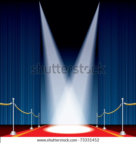 vector opened stage with blue curtain and two spotlights - stock vector
