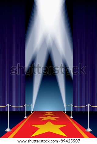 vector opened stage with purple curtain and stars on red carpet - stock vector